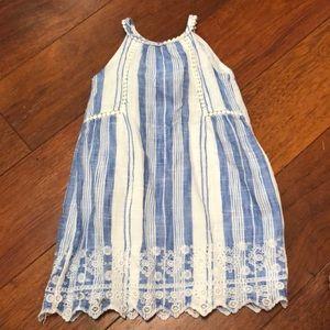 Gap linen blue stripe dress